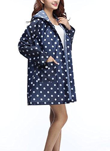 Femme Raincoat Avec Capuche Impermeable Elégante Fashion Point D'Onde Imprimé Casual Outdoor Camping Randonné Mi Longues Manteau De Pluie Poncho Cape De Pluie Vêtements Imperméable Bleu