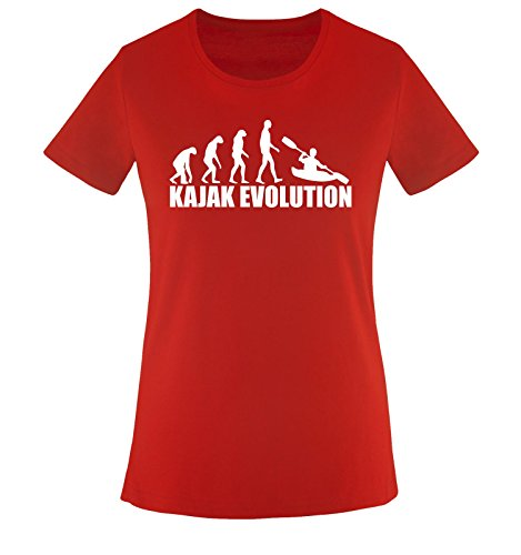 KAJAK EVOLUTION -Damen T-Shirt Rot/Weiss Gr. S