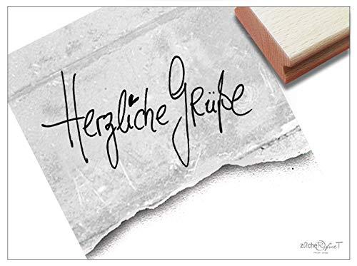 Stempel Textstempel HERZLICHE GRÜßE handschriftlich - Schriftstempel für Nachrichten Karten Briefe Geschenkanhänger Geschenk Deko - zAcheR-fineT