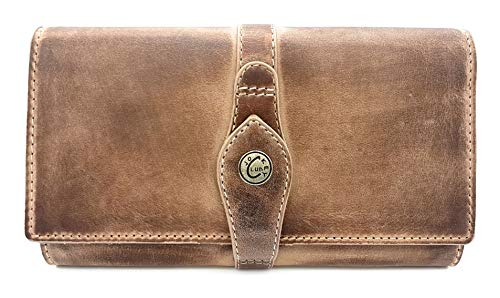 Price comparison product image Jockey Club La-Correa Women's Purse Long Full Cowhide Leather Shabby Chic Used Look Vintage Style with RFID Protection