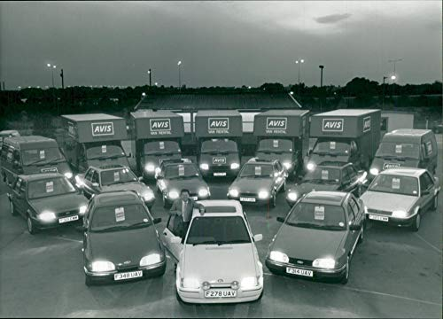 Fotomax Vintage Photo of Hire Avis Car Fleet of Nearly 70 F.