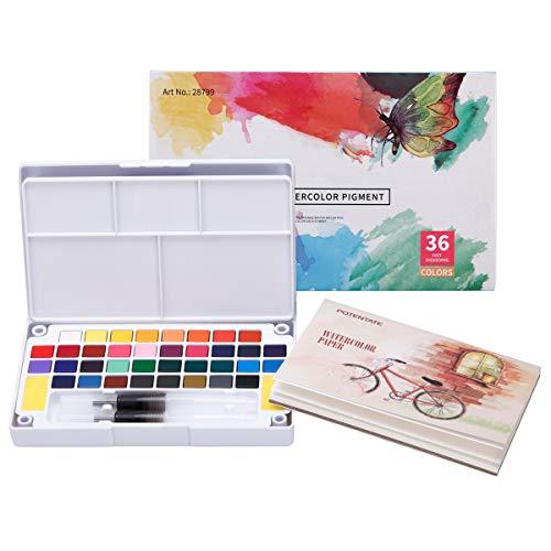 LAOYE Kit de Peinture Aquarelle 36 Couleurs Boîte d'Aquarelle +12 Papiers +2 Stylo d'aquarelle + 1 Palette + 2 Eponge de Nettoyage pour Débutant Amateurs Artistes et Voyag