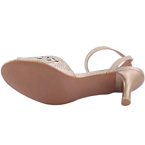 Unze Tame' Donne Laser Cut Low-Mid tacco a spillo partito di sera di Carnevale Get Together Brunch sandali tacco nozze Corte Formato dei pattini 3-8 Oro