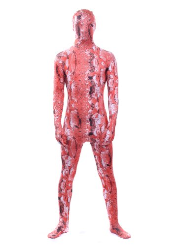Luxus-Ausgabe: Rot Schlangenleder Tier Druck Lycra Catsuit von Stretchy Suits (Männer: Groß) (Superfan Kostüme)