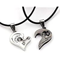 I Love You Couple Lover Pendant Men Women Necklace Titanium Steel CZ rhinestone Double Heart Jewelry