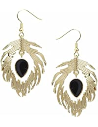 "Young & Forever Valentine Gifts Special ""Paradiso Collection"" Glamorous Feather Earings Drop Earrings For Women"