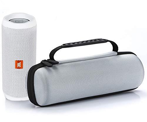 L3 Tech Étui Rigide Housse de Transport pour JBL Flip 4 / JBL Flip 3 sans Fil Enceinte Portable Bluetooth,Adapté au câble USB et au Chargeur Mural - Silver