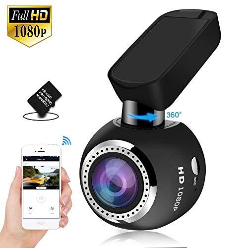 HQBKiNG Caméra Voiture Dashcam WiFi Mini 1080P Caméra de Voiture avec Vision Nocturne magnétique...