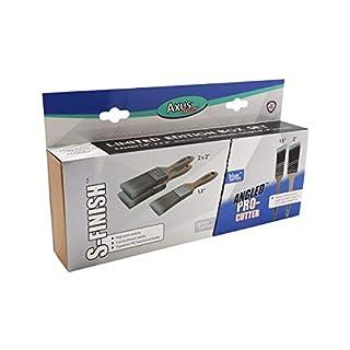 Axus Decor Grey S Finish & Blue Angled Pro Cutter 5 Paint Brush Set -