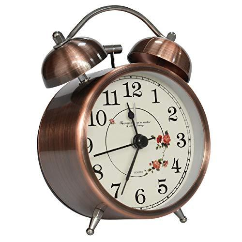 Coolzon® Reloj Despertador Doble Campana Clásico de Pilas con Loud, de Silencioso Analógico de Cuarzo...