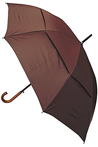 COLLAR AND CUFFS LONDON - Windproof EXTRA STRONG - StormDefender City Umbrella - Vented Canopy - HIGHLY ENGINEERED TO COMBAT INVERSION DAMAGE - Auto Open - Solid Wood Hook Handle - Large - Brown