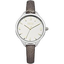 Oasis Damen-Armbanduhr Analog Quarzuhrwerk silberfarbenes Zifferblatt Display und Gold Lederband b1476