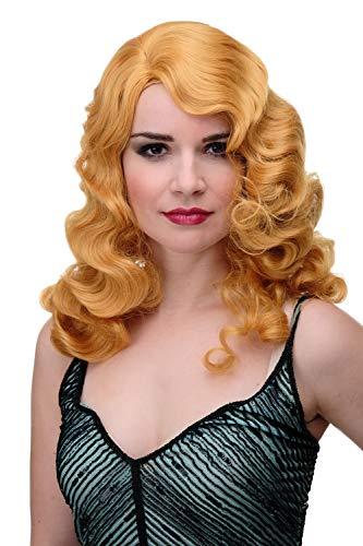 WIG ME UP - Damenperücke Perücke Classic Hollywood Chic Wasserwelle gewellt helles Kuperblond Diva lang volumen GF-W1860-144