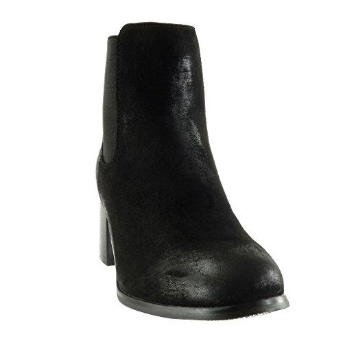 Angkorly - Chaussure Mode Bottine chelsea boots effet vieilli femme brillant clouté Talon haut bloc 5.5 CM - Intérieur Fourrée Noir