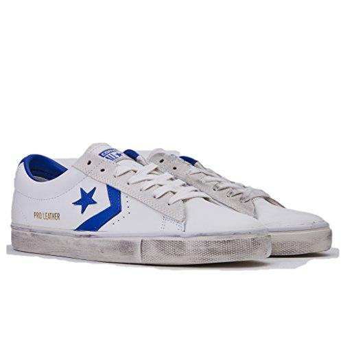 Converse Sneakers Uomo,Pro Leather Vulc 160928C/STAR White/Hyper, Distressed Ox, Colore Bianco Blu, In Pelle, Nuova Collezione Primavera Estate 2018 White bluette