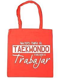 HippoWarehouse NACIDO PARA EL TAEKWONDO FORZADO A TRABAJAR Bolso de Playa Bolsa Compra Con Asas para gimnasio 42cm x 38cm 10 litros capacidad