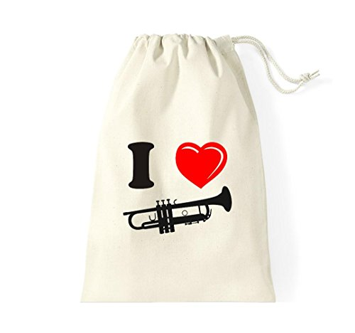Turnbeutel Musikinstrument Trompete Horn Gymsack Kultsack Natur