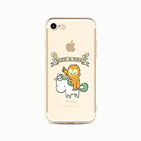 KSHOP Coque de protection pour iPhone 6 /iphone 6s couverture transparent ultra-mince TPU flexible en silicone souple de protection Antiscratch aniamtion peinte- Believe in yourself Licorne