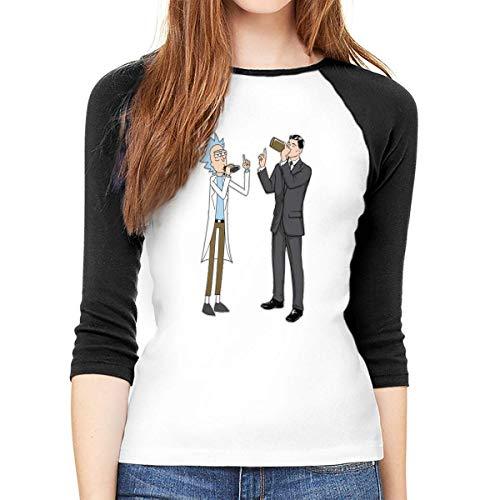 Damen Langarm-T-Shirt, Rick and Archer Drink Wine's Rundhals-T-Shirt, Baseball-Tunika, Tops, Bluse Gr. XXL, Mehrfarbig