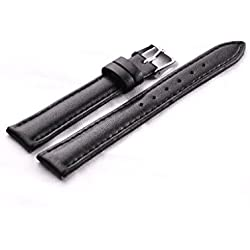 Genuine Leather Watch Strap Band Stainless Steel Buckle 14mm