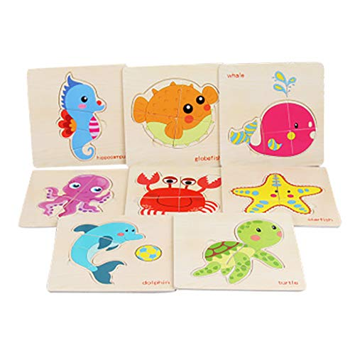 Fcostume 8 Stücke Holz Tier Puzzle Pädagogische Entwicklungs Baby Kids Training Spielzeug (F)