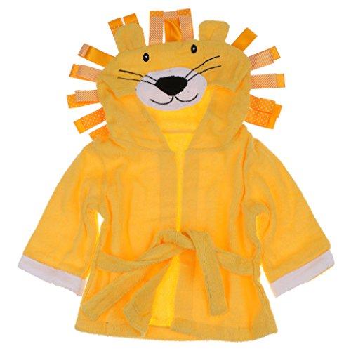 Kinder Frottee Bademantel Tier Baby Bademantel Mit Kapuze Entzückende Baby Bademantel Weicher Baumwolle Milchkuh - Gelber Löwe