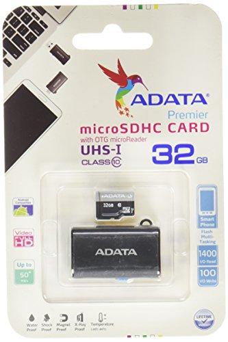 Galleria fotografica ADATA ausdh32guicl10-rotgm scheda microSDHC UHS-I con Adattatore USB/Micro USB Classe 1032GB nero