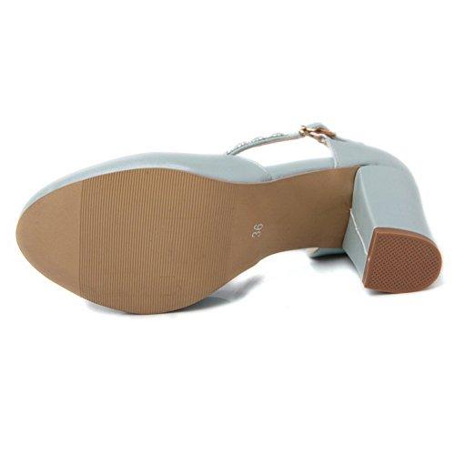 Shoes Bleu Pumps Balamasa Souple Diamant Femme Verre En Matière 8qawCIw