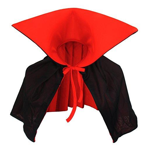 chwarz rot Wendeumhang Vampire mit Stehkragen Cape 35cm lang für Erwachsene und Kind Kostüm Dracula Mantel Familien Kostüm (Vampirzähne Mit Blut)