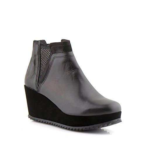 Felmini - Chaussures Femme - Tomber en amour avec Zepa 1104 - Bottines BlocCuir Véritable - Noir Noir