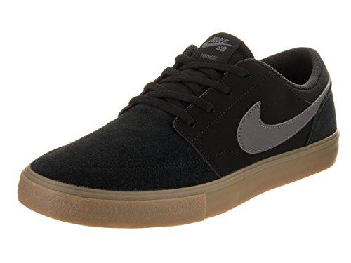 Nike Sb Portmore Ii Solar, Scarpe da Skateboard Uomo Nero (Black/Dark Grey/Gum Light Brow)