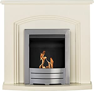 Adam Truro Fireplace Suite in Cream with Colorado Bio Ethanol Fire in Brushed Steel, 41 Inch