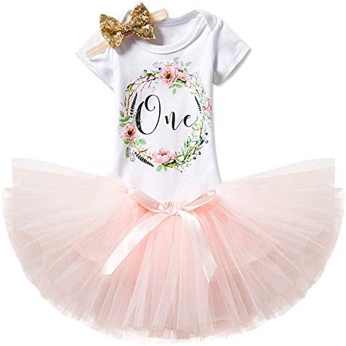 TTYAOVO Mädchen Rock Neugeborenen 3er Babys 1 Geburtstag Set/Outfits mit Romper + Tutu Kleid + Stirnband Größe 1 Jahre Rosa