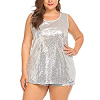 IN'VOLAND Womens Sequin Top Plus Size Tank Tops Sparkle Glitter Party Summer Sleeveless T Shirts Tunics Silver