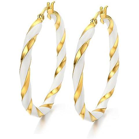MG y joyería de las mujeres de acero inoxidable blanco & 18K chapado en oro Twist cuerda redonda Big aro Earrring