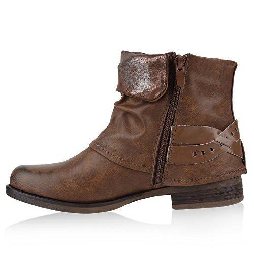 Stiefelparadies Damen Stiefeletten Biker Boots Schnallen Nieten Knöchelhohe Stiefel Leder-Optik Flandell Braun Nieten