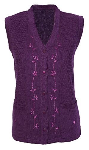 Womens Ladies Ribbed Knitted Pocket Waistcoat Sleeveless Cardigan Top Pullover Size 12 14 16 18