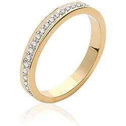 ISADY - Clarina Gold - Bague femme - Plaqué Or 750/000 (18 carats) - Oxyde de zirconium transparent - Alliance Eternité Anneau - Taille 50