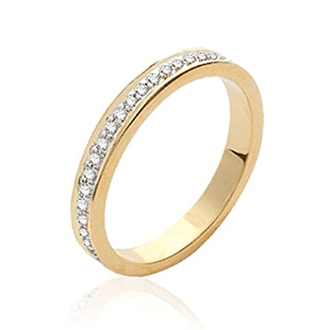 ISADY - Clarina Gold - Bague femme - Plaqué Or 750/000 (18 carats) - Oxyde de zirconium transparent - Taille 56
