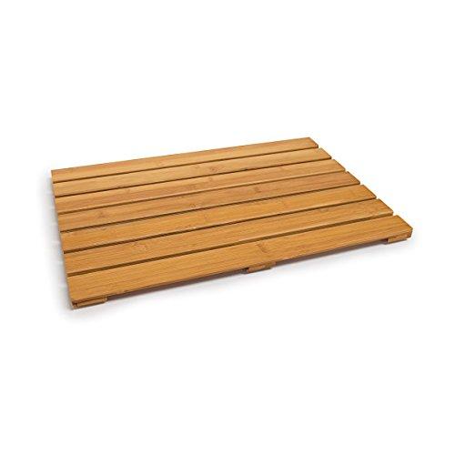 Relaxdays Badvorleger Bambus H x B x T 53,5 x 35,5 x 2 cm rutschfeste Bambusmatte mit 6 Anti-Rutsch-Punkten als schnelltrocknender Duschvorleger aus natürlichem Bambus für das Badezimmer, natur