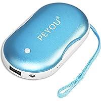PEYOU Handwärmer USB, Wiederaufladbare Powerbank mit LED Taschenlampe Große Kapazität und doppelseitige Heizung für Mädchen, Männer, 5200 mAh Externe Backup Ladegerät Akku für Smartphones (Blau)