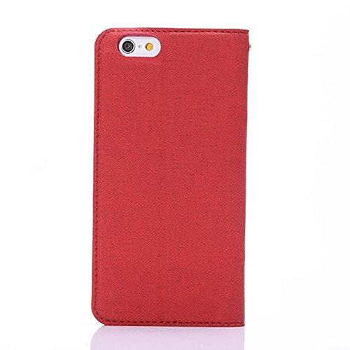 Tuch-Beschaffenheit PU-lederner Fall-horizontaler Schlag-Standplatz-Fall-Abdeckung mit Einbauschlitz für iPhone 6 u. 6s ( Color : Purple ) Red