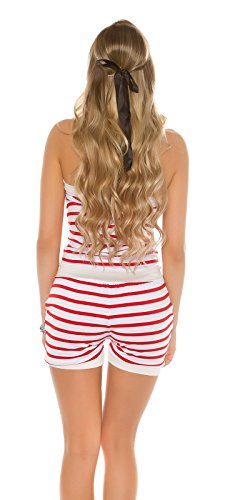 Damen Bandeau Jersey Shorts Hotpants Sommeroverall Overall Jumpsuit Playsuit im Marine-Look gestreift Rot
