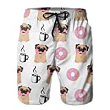 khgkhgfkgfk Mens Quick Dry Beach Shorts Swim Trunks(Funny Vector Dogs Pug Puppies Pattern Donut Coffee)