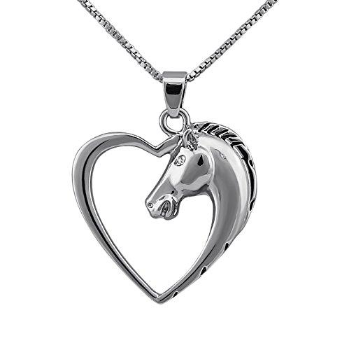 k Edle Pferd Halskette in Silber Pferde-Kopf Herz Tier-Freund Geschenk für Mädchen Pferdeliebhaber Reiten ()