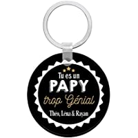 Porte clés à personnaliser avec prénom PAPY trop génial - cadeau personnalisé papy - porte clé papy - idée cadeau fête des grands-pères