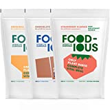 FOODIOUS Protein Powder Testpack with 27 Vit. & Minerals-100% Vegan-Ideaal als Maaltijdvervanger of Dieetshake-Low in Sugar Meal Replacement-3 Pack x 500g=15 Volledige Maaltijd-Premium-Ruimtevoedsel