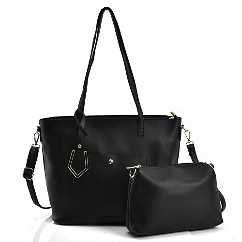 Sally Young Fashion Damen Handtasche aus Velourslederimitat/Leder, große Schultertasche, 2-teiliges Set, Schwarz - Black(vk5408) - Größe: Large