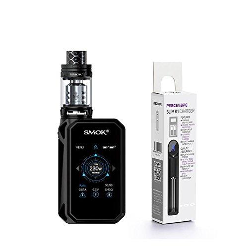 Autentico SMOK G Priv 2 Kit 230W Touchscreen MOD TFV12 Prince EU 2mL Tank edizione di LUXE (Nero) con PEACEVAPE   Caricatore Slim a 1 slot SMOK GPRIV 2 Senza Nicotina Sigaretta Elettronica
