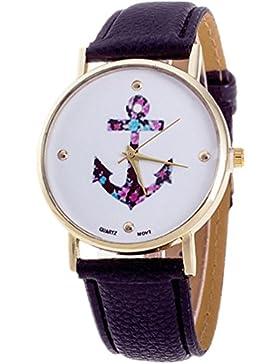 HITOP Damen Vintage Retro Blume Armbanduhr Basel-Stil Rhinestones Fancy Anker Lederarmband Analoge Quarz Uhr Top...